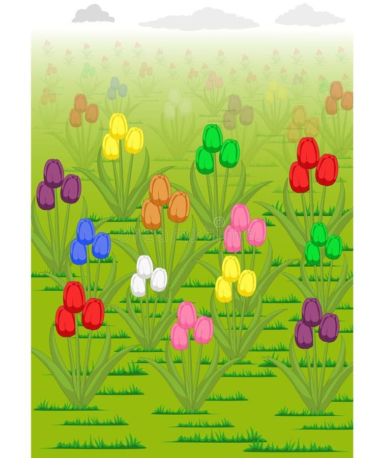 A ilustração do vetor das tulipas jardina nebuloso ilustração royalty free