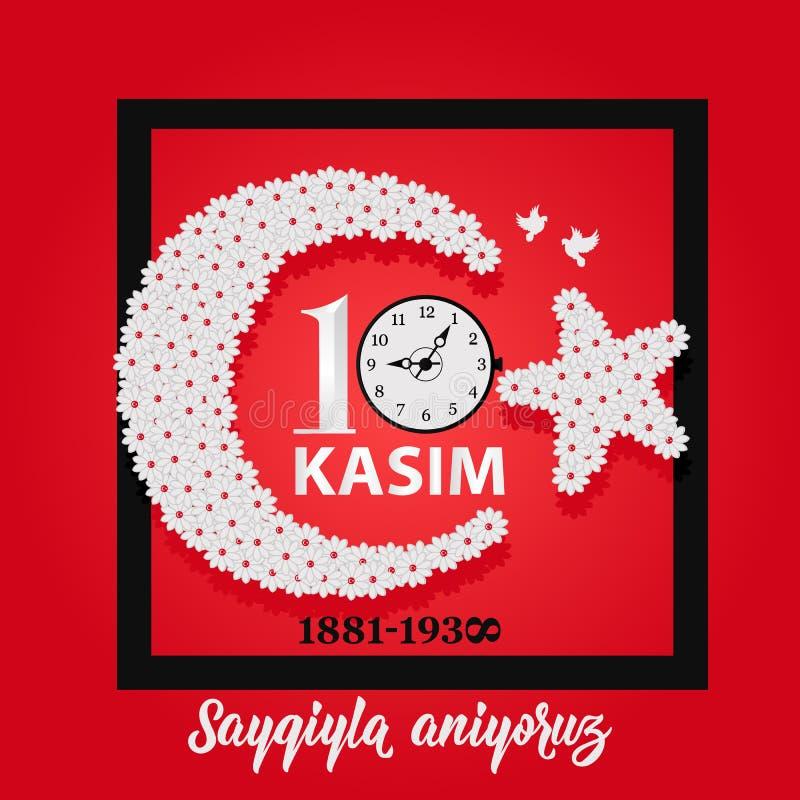 Ilustração do vetor data dia comemorativo Ataturk da morte do 10 de novembro Inglês: O 10 de novembro, respeito e recorda ilustração do vetor