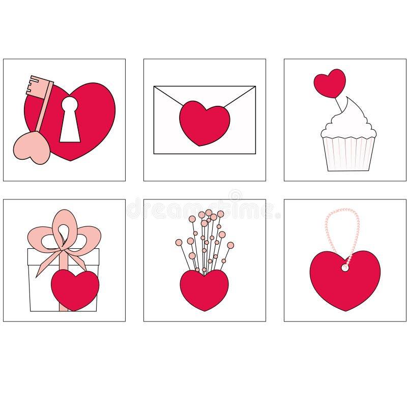 Ilustração do vetor de ícones do amor O ideal para Valetine carda a decoração Ícones fotografia de stock