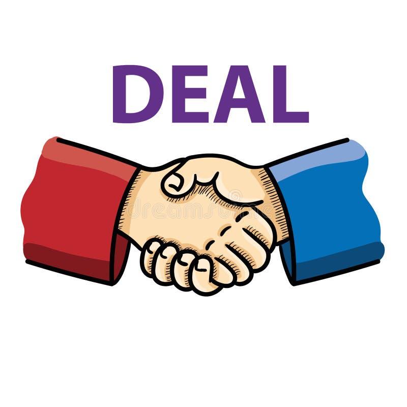 Ilustração do vetor de agitar a mão como o concep do acordo do negócio ilustração do vetor