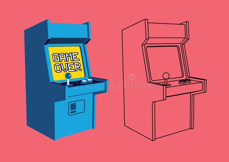 Ilustração do vetor de Arcade Game Machine retro com esboço ilustração do vetor
