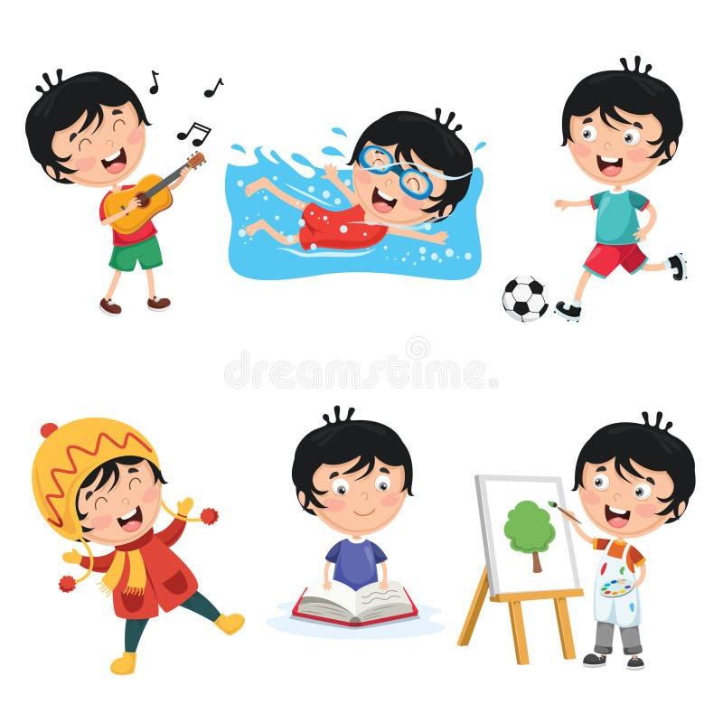 Ilustração do vetor de atividades rotineiras diárias das crianças ilustração do vetor