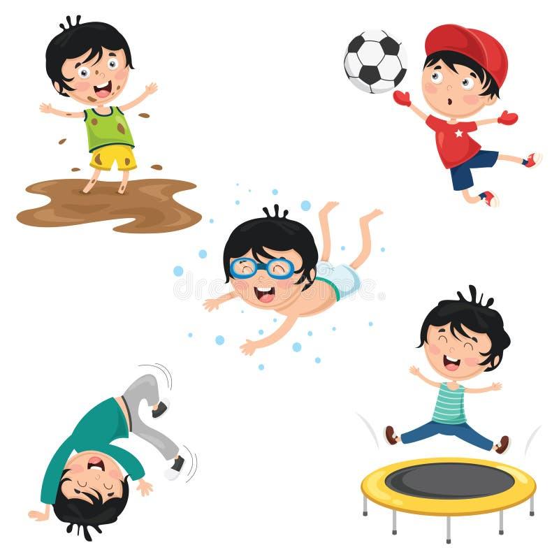 Ilustração do vetor de atividades rotineiras diárias das crianças ilustração stock
