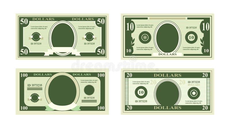 Ilustração do vetor de cédulas falsificadas dos dólares Bill cem dólares apropriado para cartões do disconto no fundo branco ilustração stock