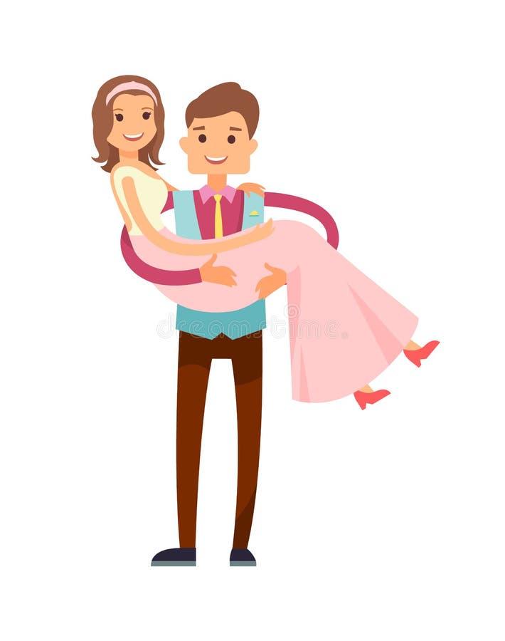 Ilustração do vetor de Carrying Bride Poster do noivo ilustração do vetor