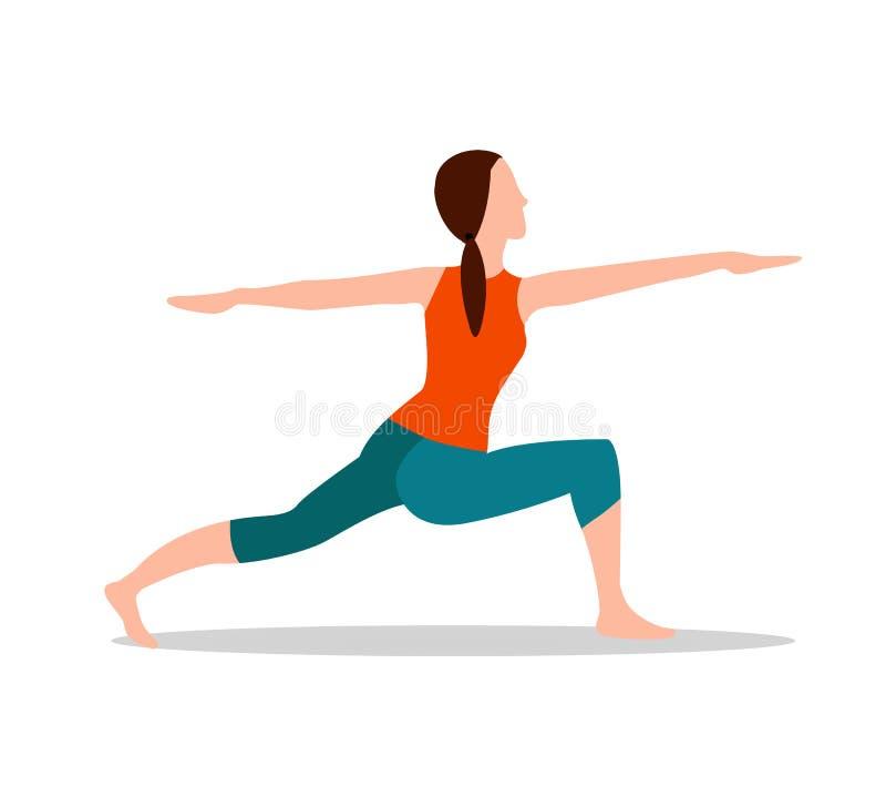Ilustração do vetor de Crescent Lunge Twist Yoga Pose ilustração royalty free