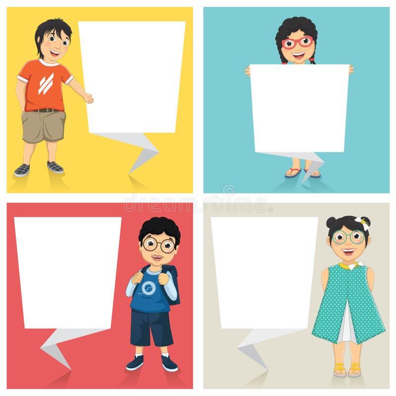 Ilustração do vetor de crianças bonitos com as bandeiras lisas do origâmi ilustração stock