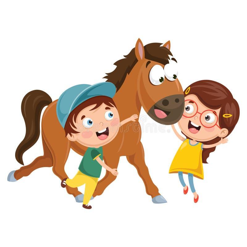 Ilustração do vetor de crianças dos desenhos animados com cavalo ilustração do vetor