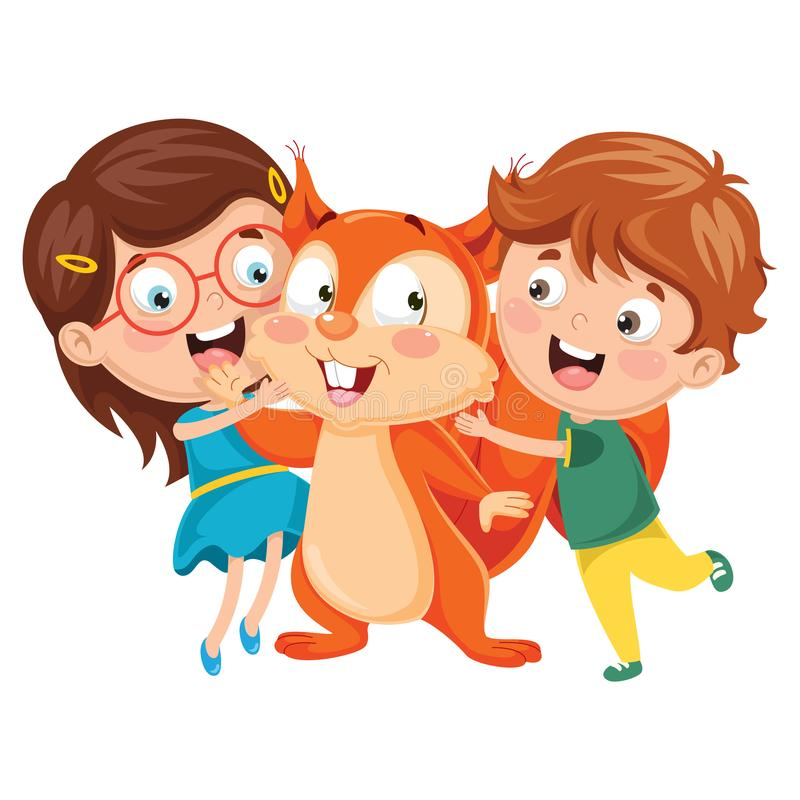 Ilustração do vetor de crianças dos desenhos animados com esquilo ilustração do vetor