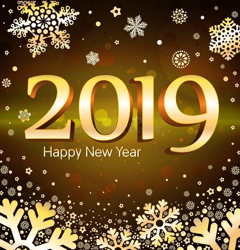 Ilustração do vetor de cumprimentar o ano novo com os números de 2019 em um fundo preto e em uns flocos de neve dourados ilustração royalty free