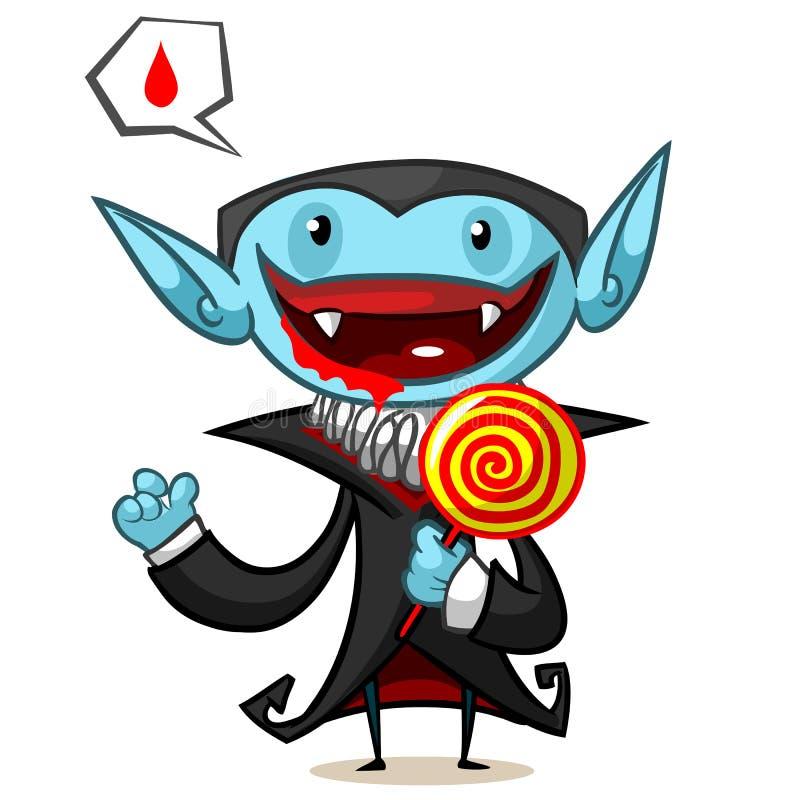 Ilustração do vetor de Dia das Bruxas do vampiro dos desenhos animados com lollypop no fundo branco ilustração stock
