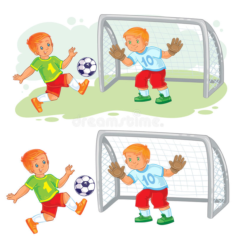 Ilustração do vetor de dois rapazes pequenos que jogam o futebol ilustração royalty free