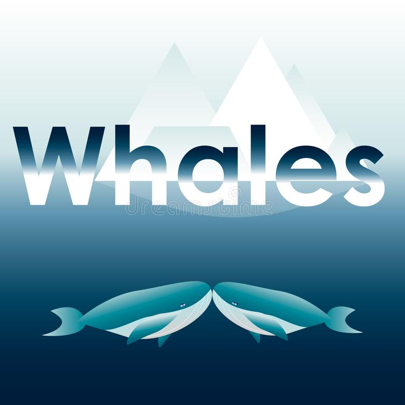 Ilustração do vetor de duas baleias azuis ilustração do vetor