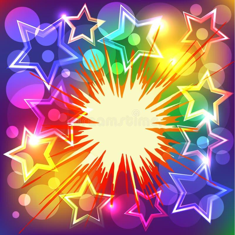 A ilustração do vetor de estrelas coloridas explode. ilustração royalty free