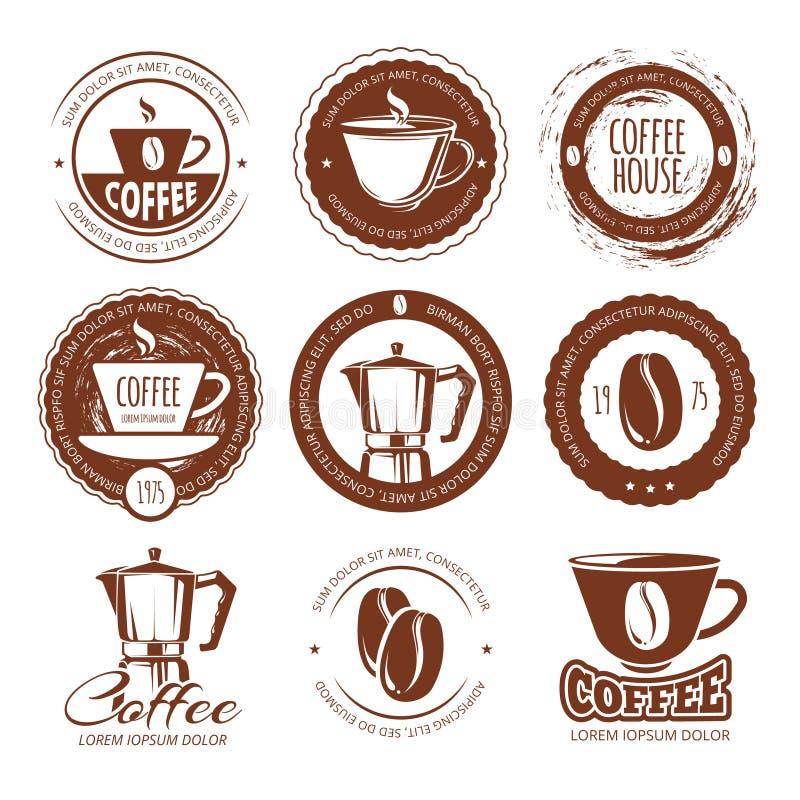 Ilustração do vetor de etiquetas e de crachás do café do vintage Café do logotipo ilustração stock