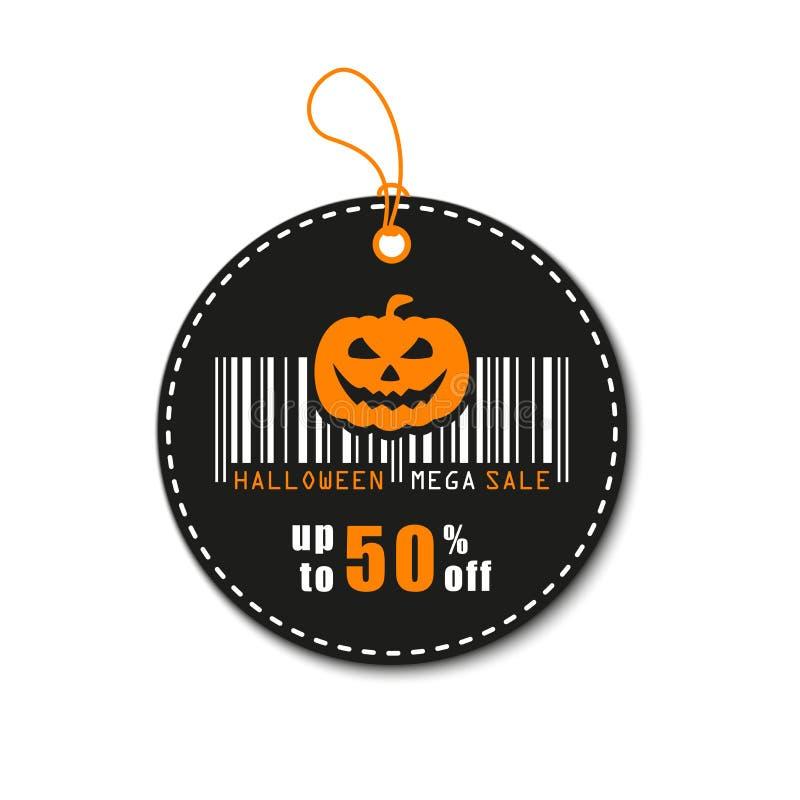 Ilustração do vetor de Halloween A venda, o disconto e a oferta de Dia das Bruxas etiquetam, etiqueta fotos de stock royalty free