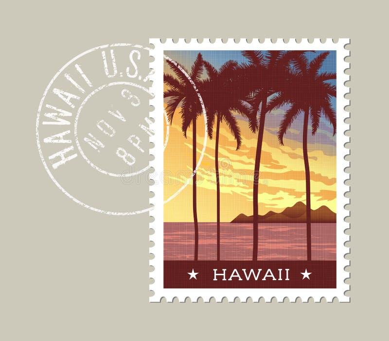 Ilustração do vetor de Havaí de palmeiras altas no por do sol ilustração do vetor