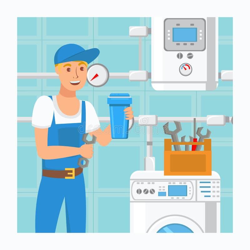 Ilustração do vetor de Holding Water Filter do encanador ilustração stock