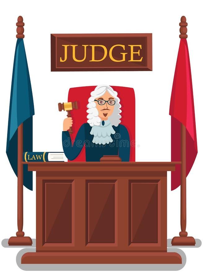 Ilustração do vetor de Holding Wooden Gavel do juiz ilustração do vetor