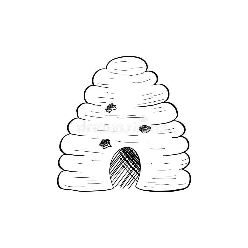Ilustração do vetor de Honey Sketch Bee Hive Isolated para Logo Design ilustração do vetor