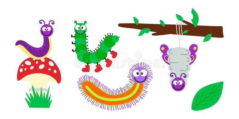 Ilustração do vetor de inseto da lagarta dos desenhos animados ilustração royalty free