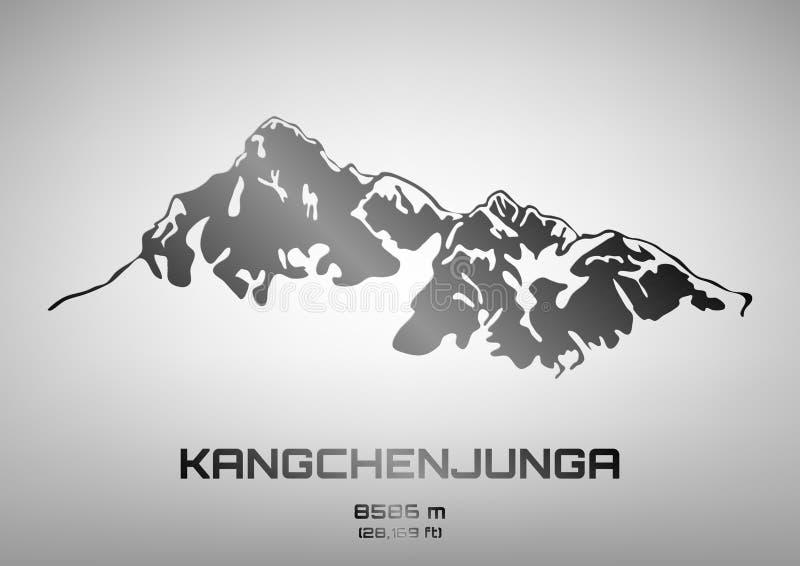 Ilustração do vetor de Kangchenjunga no aço ilustração do vetor