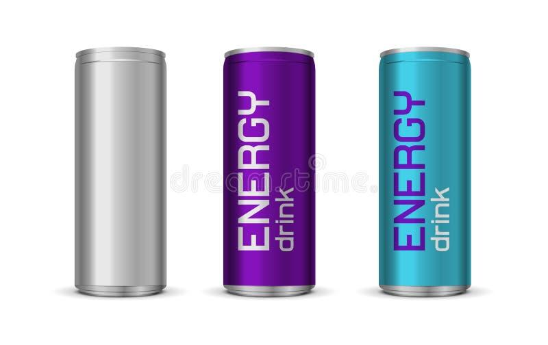Ilustração do vetor de latas brilhantes da bebida da energia ilustração royalty free