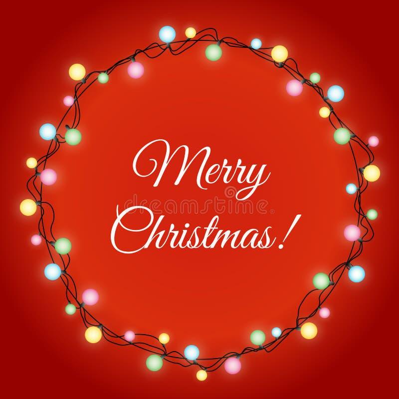 A ilustração do vetor de luzes de Natal de incandescência envolve-se para o projeto de cartões do feriado do Xmas no fundo da cor ilustração royalty free
