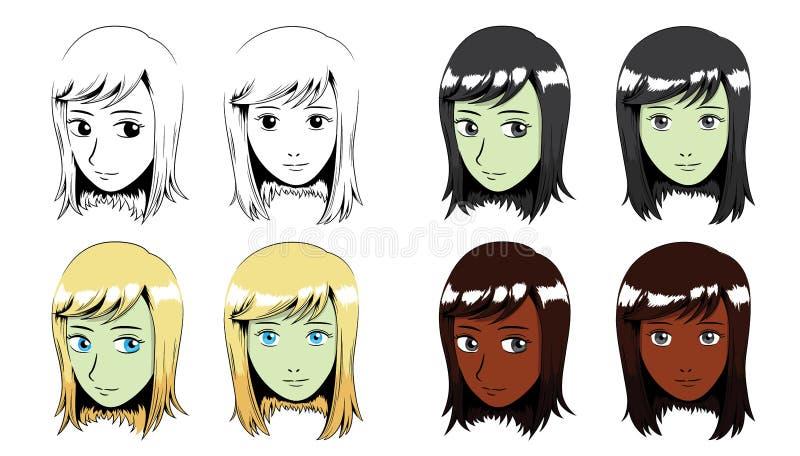 Ilustração do vetor de Manga Long Hair Girl Stroke ilustração royalty free