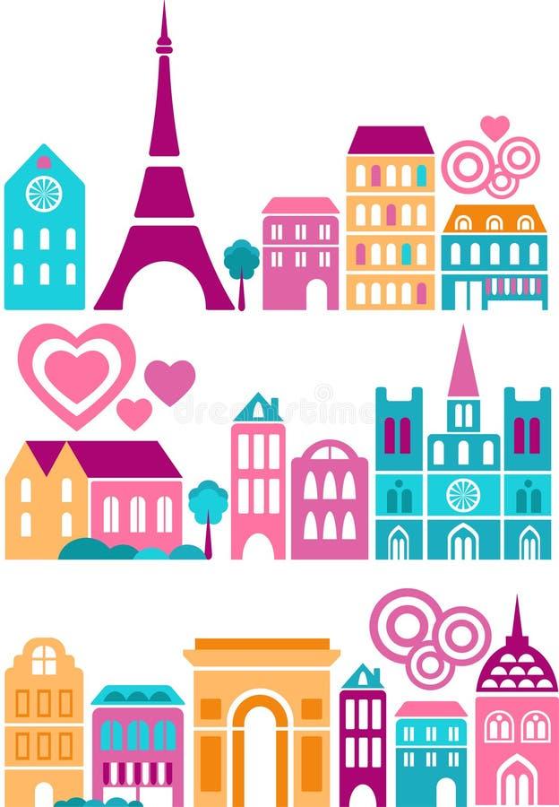 Ilustração do vetor de marcos de Paris ilustração royalty free