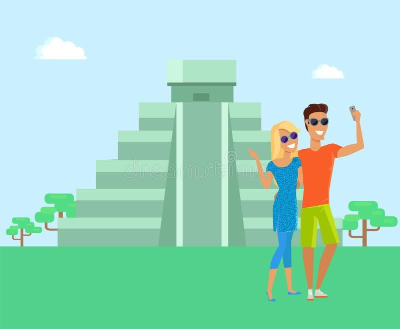 Ilustração do vetor de Maya Pyramid Man e da mulher ilustração do vetor