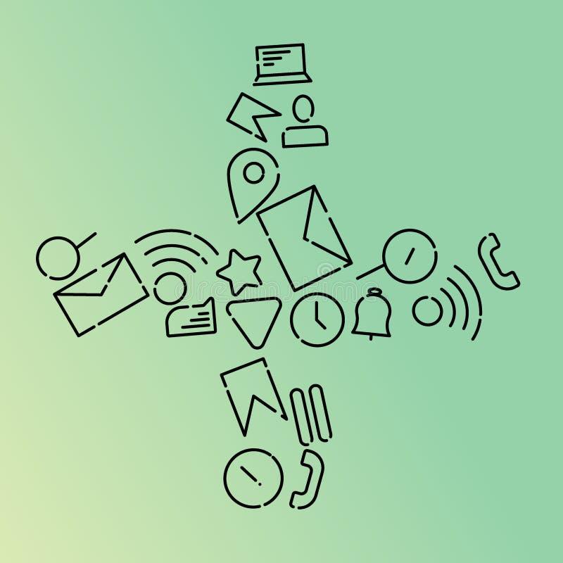 Ilustração do vetor de Minimalistic dos ícones no assunto do Internet, aplicações, negócio sob a forma do sinal de adição da Incl ilustração royalty free