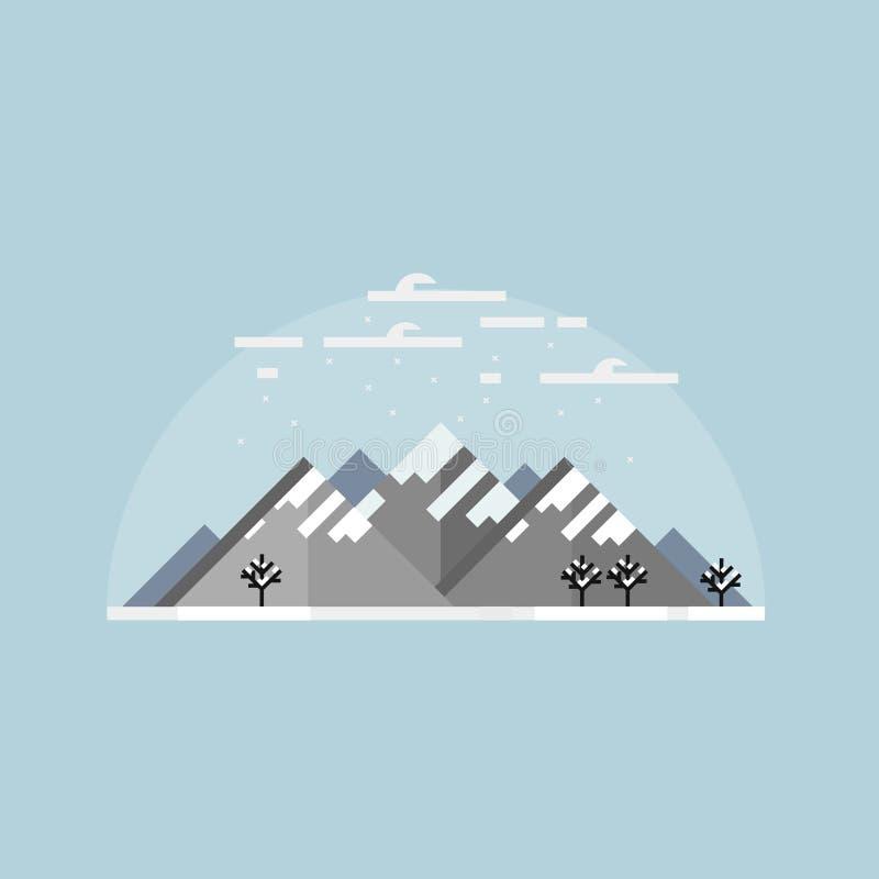 Ilustração do vetor de Minimalistic ou ícone liso de montanhas nevados ilustração do vetor