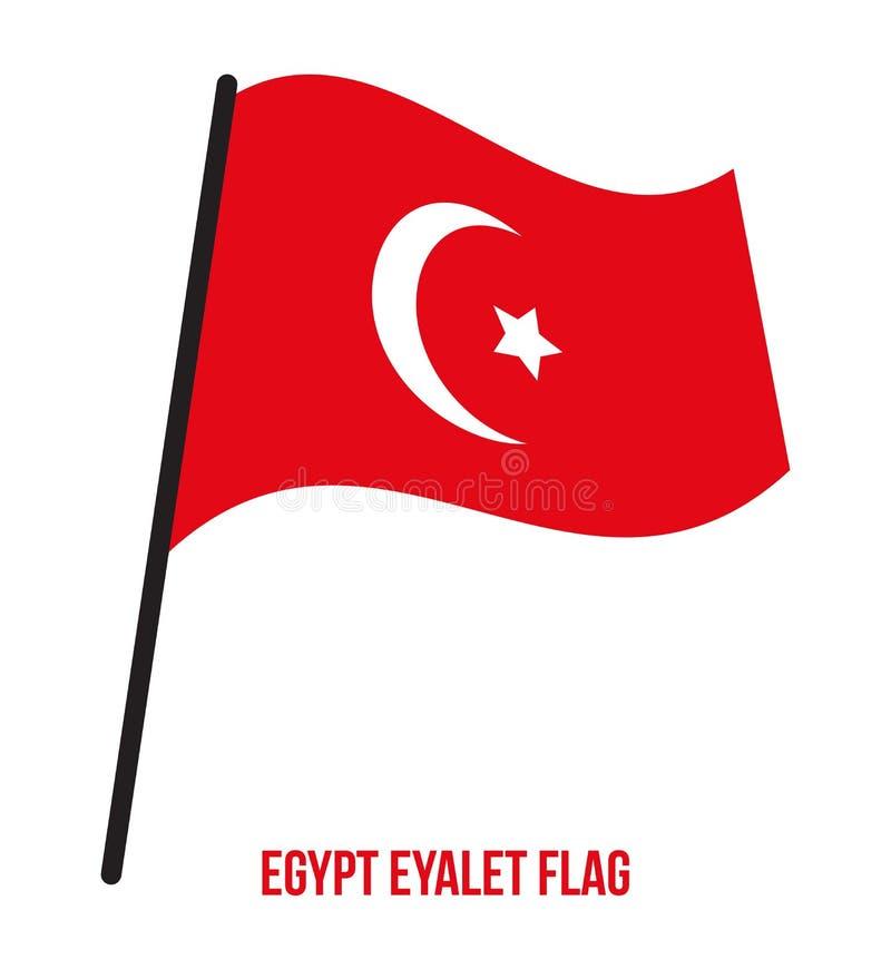 Ilustração do vetor de ondulação da bandeira de Egito Eyalet 1517-1867 no fundo branco Vetor da bandeira de Egito ilustração royalty free