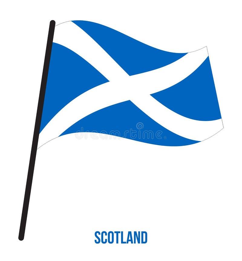 Ilustração do vetor de ondulação da bandeira de Escócia no fundo branco Países do Reino Unido ilustração stock
