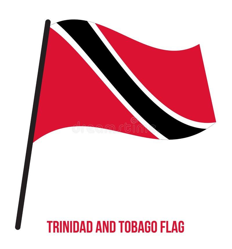 Ilustração do vetor de ondulação da bandeira de Trindade e Tobago no fundo branco Países Baixos ilustração royalty free