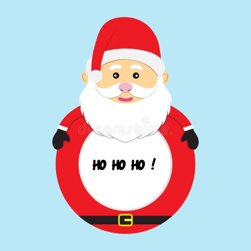 Ilustração do vetor de Papai Noel do quadro do Feliz Natal isolada ilustração do vetor