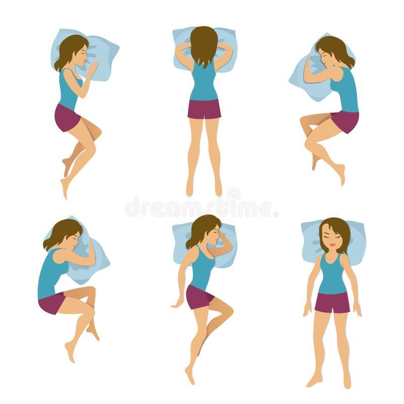 Ilustração do vetor de posições do sono das mulheres Poses do sono da mulher na cama ilustração royalty free