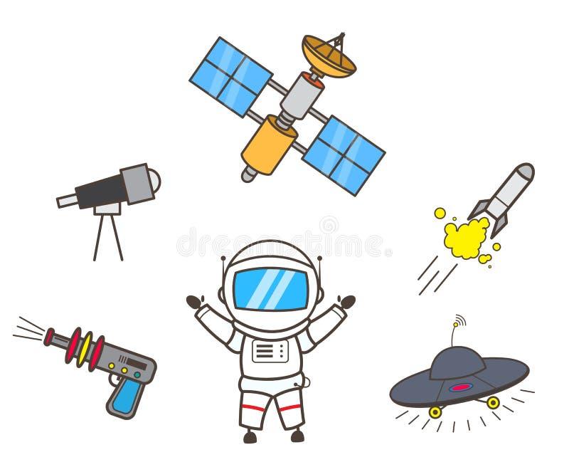 Ilustração do vetor de Presenting Space Items do astronauta dos desenhos animados ilustração royalty free