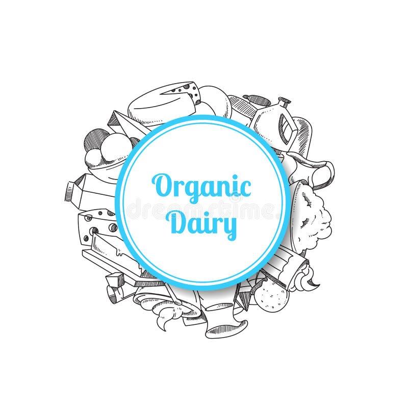 Ilustração do vetor de produtos de leite esboçados ilustração stock