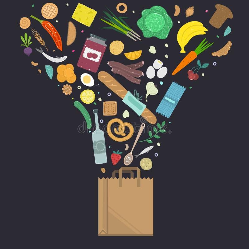 A ilustração do vetor de produtos naturais coloridos cai no saco ilustração do vetor