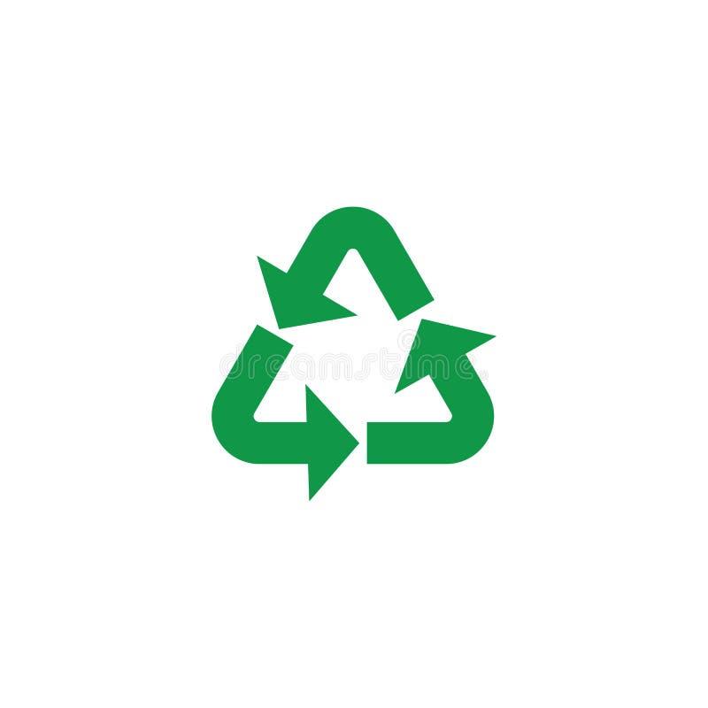 A ilustração do vetor de recicla e o símbolo zero do desperdício com as setas verdes no formulário do triângulo ilustração do vetor
