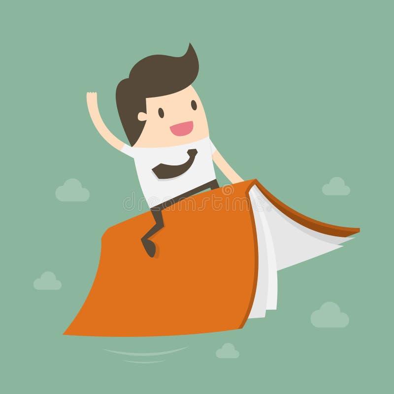 Ilustração do vetor de Riding Flying Book do homem de negócios ilustração stock
