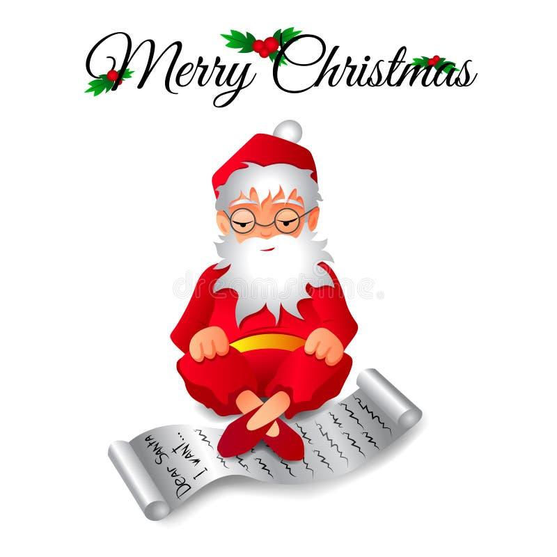Ilustração do vetor de Santa Claus que senta-se em uma pose dos lótus com uma lista de presentes foto de stock