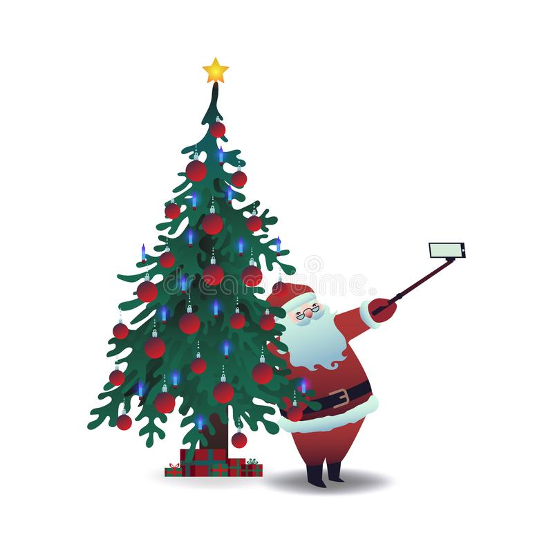 Ilustração do vetor de Santa Claus que toma o selfie usando a câmera e a vara do smartphone ilustração stock