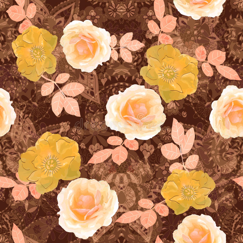 Ilustração do vetor de sem emenda floral Rosa desenhada mão ilustração royalty free