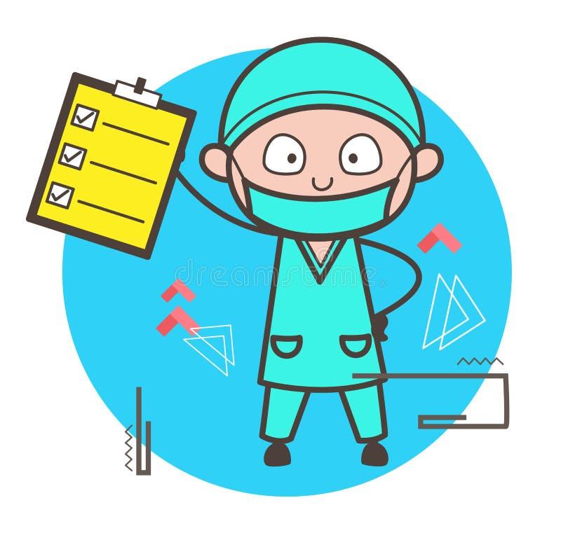 Ilustração do vetor de Showing Checklist Report do cirurgião dos desenhos animados ilustração stock