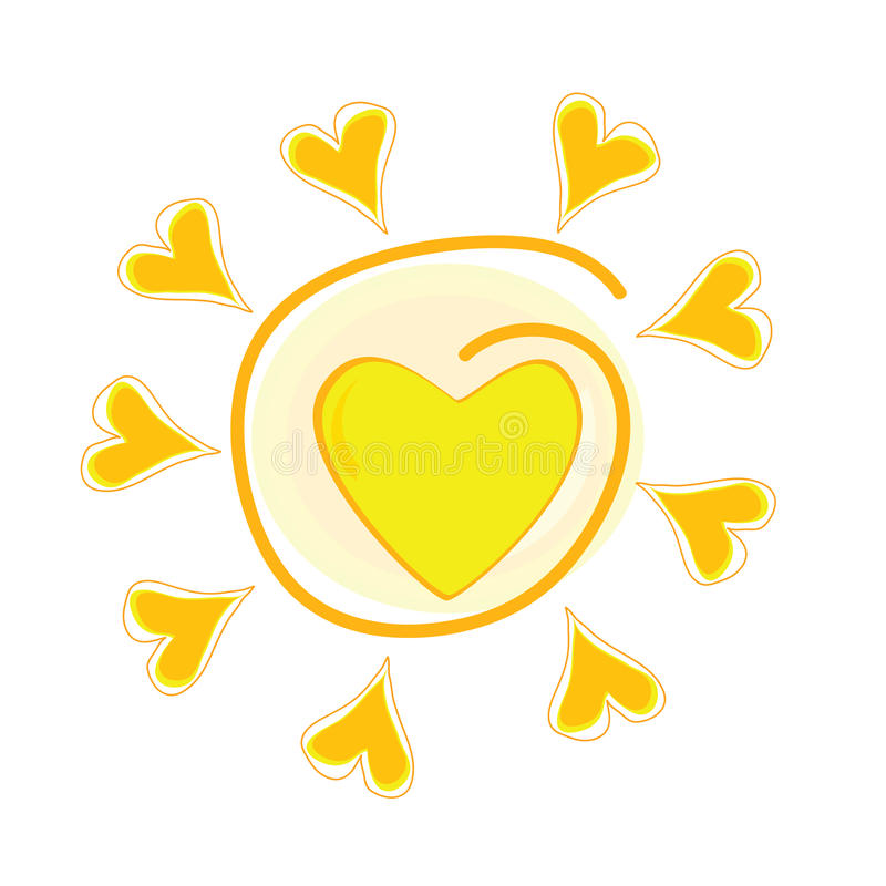 Ilustração do vetor de Sun com coração ilustração stock