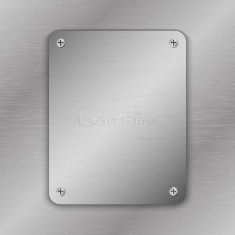 Ilustração do vetor de Techno Fundo do metal com placa e rebites A textura metálica do grunge escovou o aço, superfície do ferro ilustração do vetor
