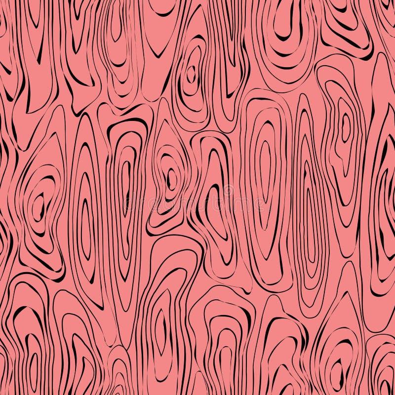 Ilustração do vetor de texturas de madeira repetidas da grão em coral e em preto ilustração royalty free